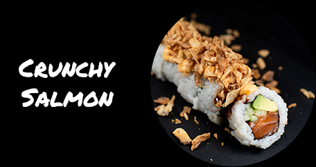 Sushi Fusion Brighton. Japanese cuisine. Sushi fusion rolls and hot dishes. crunchy salmon