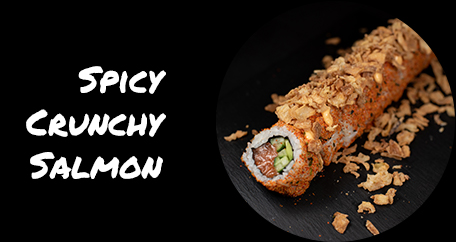 Sushi Fusion Brighton. Japanese cuisine. Sushi fusion rolls and hot dishes. spicy crunchy salmon
