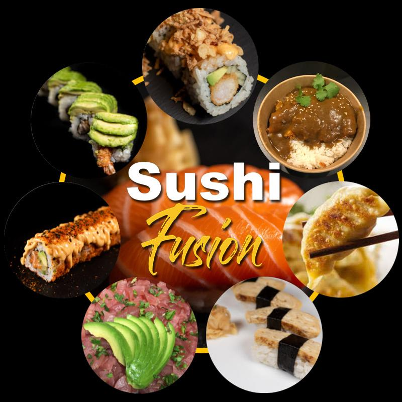 Sushi Fusion Brighton. Japanese cuisine. Sushi rolls and more. Food carousel. Logo 2